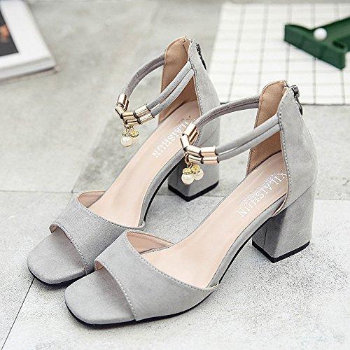RUGAI-UE Spessore tacco sandali donna estate Bocca di pesce scarpe High-Heeled Gray