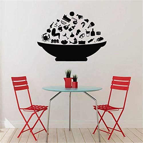 JXWR Mode Schüssel mit Essen Wandaufkleber Küche Wanddekoration Restaurant Tapete kreative Selbstklebende Tapete Küche Aufkleber 57x80cm -