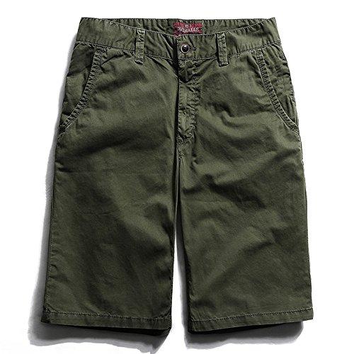 WDDGPZDK Strand Shorts/Der Sommer Herren Mode Shorts Baumwolle Knie Länge Casual Male Farbe Lose Übergrößen Bequeme Shorts, Grün, 30.