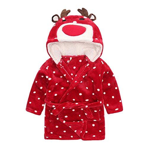 Deylaying Niedlich Tiere Weich Flanell Bademantel Kinder Baby Child Pyjama Schlafanzüge Kleid Kapuze Schlaf Robe Unisex (Rot,S) -