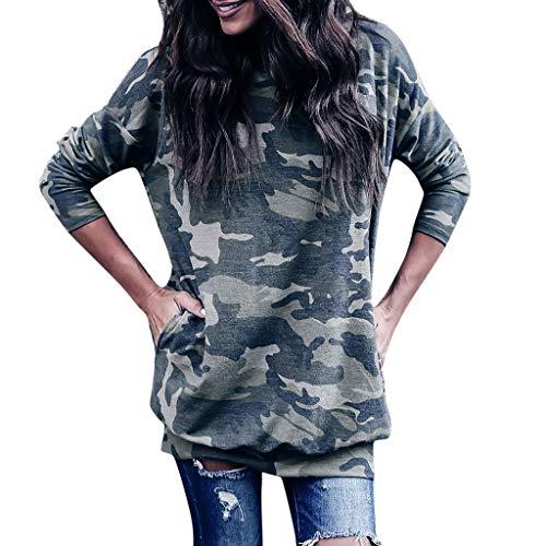 (Damen Kleid,❤️Binggong Damen Langärmliges Tarnkleid mit Camouflage-Drucken)