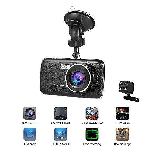 Cámara para Coche LESHP Dashcam Doble Cámaras Full HD 1080P 170°Lente Ultra...