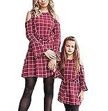 CYICis Mutter und Tochter passenden Kleid Halbarm Bowknot Midi-Kleid, Mutter und Tochter Abendkleid Party-Kleid Casual Eltern-Kind-Familie Kleidung (S, Mama-Rot)
