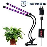 Lovebay 12W 36-LEDs(24 Rote,12 Blaue) Pflanzenlicht Wachstumslampe Pflanzenlampe||Dimmbar 5 Lichtstärken||mit Klemmhalterung||3 Modes Timer(3H/6H/12H)||360° Schwanenhals||für Büro,Haus||USB-Adapter