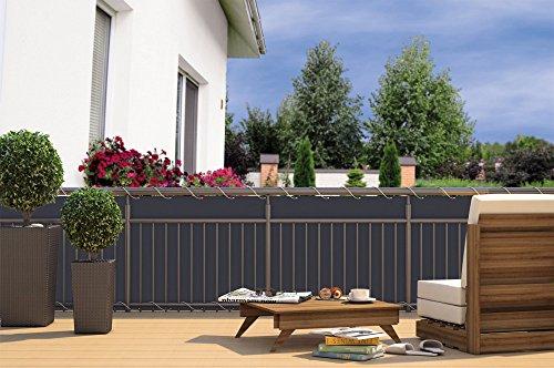 Balkon-Sichtschutz Balkon-Verkleidung Balkonumspannung Balkon-Windschutz Anthrazit grau 24 m Kordel Maße: 600 x 90 cm Polyester