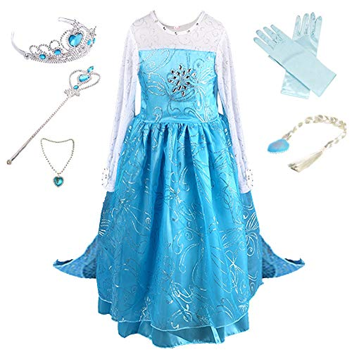 Anbelarui Mädchen Prinzessin Kleid Kinder Karneval Cosplay kostüm Set aus Diadem,Handschuhe,Zauberstab,Perücke,Halskette (120 (Körpergröße 120cm, 02 Kleid&Zubehör) (Tanz Party Prinzessin Kostüme Perücke)