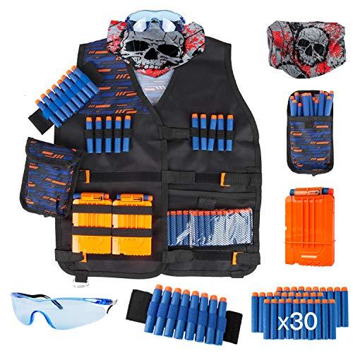 LVHERO Kinder Taktisch Battle Weste Kit für Nerf Guns N-Strike Elite beinhaltet Weste, Dart Beutel, Maske, Schutzglas, Handgelenkband, Quick Reload-Clip und 30 Elite-Darts