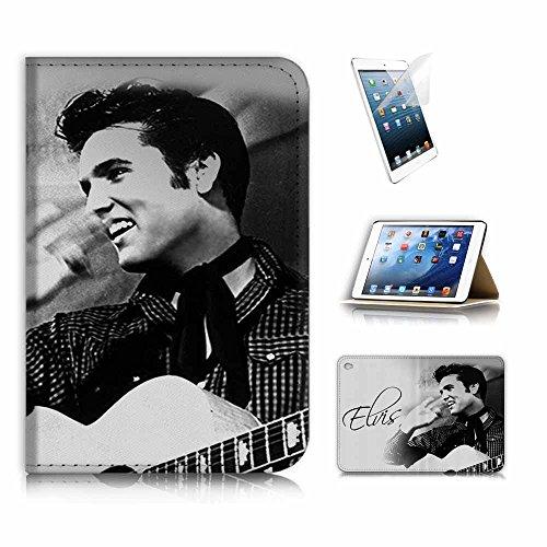 (für iPad Mini 4, Generation 4) Flip Wallet Schutzhülle & Displayschutzfolie Bundle. a8415Elvis Presley 4 Bundle-fall