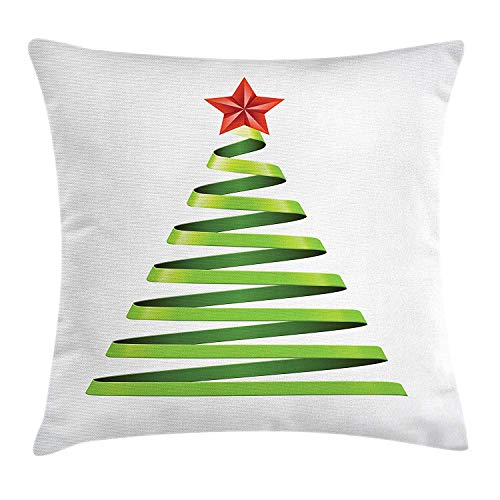 BHWYK Christmas Throw Pillow Cushion Cover, Ribbon Design with Tree Topper Star Symbol for New Year Celebration, Decorative Square Accent Pillow Case, 18 X 18 inches, Yellow Green Vermilion (Bow Tree Topper)