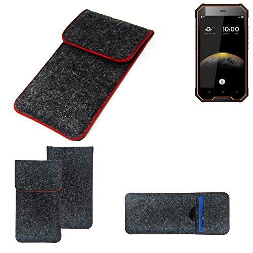 K-S-Trade® Filz Schutz Hülle Für -Blackview BV4000 Pro- Schutzhülle Filztasche Pouch Tasche Case Sleeve Handyhülle Filzhülle Dunkelgrau Roter Rand