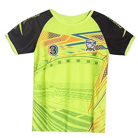 Fashion - Maillot de foot Thailande jaune fluo enfant Taille de 4 à 14 ans - 6 ans