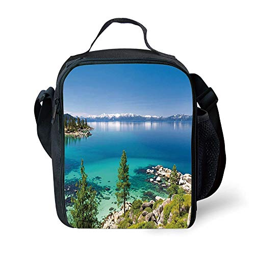 ZKHTO School Supplies Blue,Tranquil View of Lake Tahoe Sierra Pines on Rocks with Turquoise Waters Shoreline,Blue Grey Green for Girls or Boys Washable