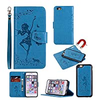 iPhone 6 Plus / iPhone 6S Plus Case [Free Screen Protector], CSM® PU Leather Embossed Butterfly Dancing Girl with [Detachable] Magnetic Flip Folio Kickstand Wallet Case for Apple iPhone 6 Plus / iPhone 6S Plus, Sky Blue
