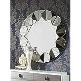 "Venetian Design Solace Modern Round Wall Mirror Diameter 30"""