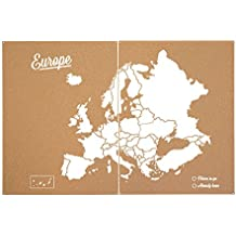 Miss Wood Woody Map XXL - Mapa del mundo de corcho con diseño Europa , color blanco