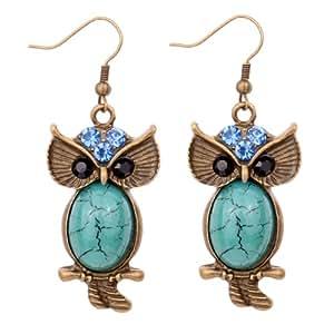 Yazilind Jewelry Retro Bronze Blue Crystal Turquoise Ear Wire Hook Dangle Earrings for Women Girls Gift Idea