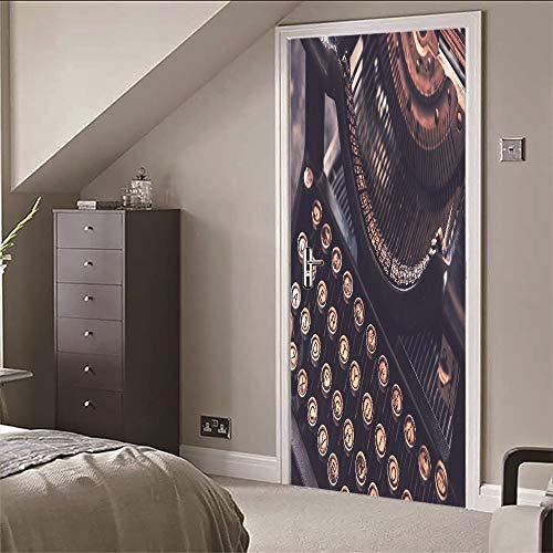 3D Tür Wandbild Tapete Aufkleber Schreibmaschine (77X200 CM) Vinyl Wasserdichte Abziehbilder Abnehmbar für Zuhause Wohnzimmer Schlafzimmer Küche Dekoration