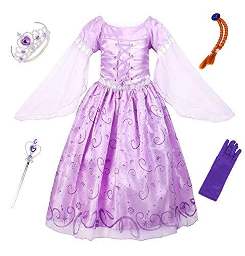 LCXYYY Mädchen Prinzessin Rapunzel Kostüm Karneval Verkleidung Party Kleid Cosplay Hochzeit Faschingskostüm Weinachten Halloween Eiskönigin Kostüme Set aus Diadem, Handschuhen, Zauberstab und ()
