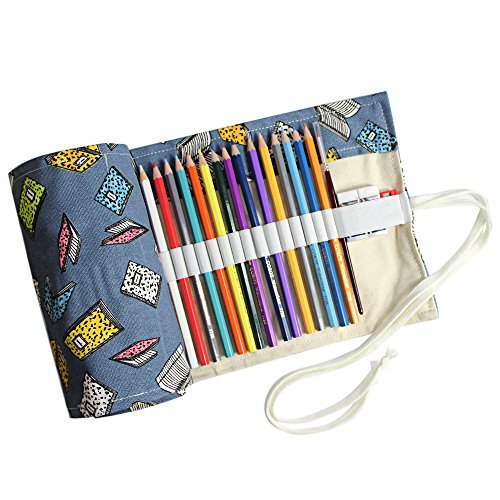 Taotree Stifterolle für 72 Buntstifte und Bleistifte, aus Canvas, Stifteetui Roll-up für Künstler, Mehrzwecktasche für Reisen / Schule / Büro / Kunst (Anmerkung: ohne Farbstifte) (Blue Fantasy)