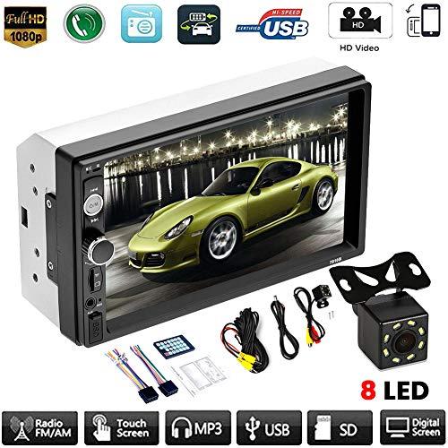znwiem 7inch Double 2 DIN Auto MP5 Player Bluetooth Touch Screen FM Stereo Radio Empfänger Unterstützung (8Led HD Rückfahrkamera)
