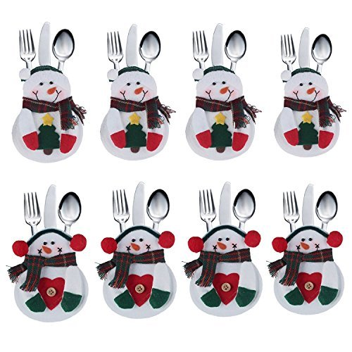 J*myi Angelo Caro 8pcs set Kitchen Cutlery Suit Silverware Holders Pockets Knifes Forks Bag Snowman Shaped Christmas Party Decoration