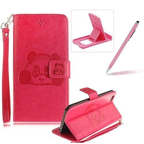 Für iPhone 6 Plus/6S Plus 5.5Zoll Wallet Tasche Brieftasche Schutzhülle,Herzzer Stilvoll Jahrgang [Lovely Panda Prägung] Schutzhülle Wallet Case Design Lederhülle Zubehör im Bookstyle Cover Schale mit Heißes Rosa