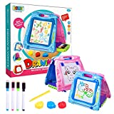 Jopee 2 in 1 zaubertafel mit clips-Tragbare Magnettafel Zeichnung Staffelei mit Stift Aufbewahrungs box-Geschenke,spielzeug für Kinder