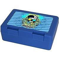 Preisvergleich für Eurofoto Brotdose mit Namen Alessio und schönem Motiv mit Totenkopf für Jungen | Brotbox blau - Vesperdose - Vesperbox - Brotzeitdose mit Vornamen