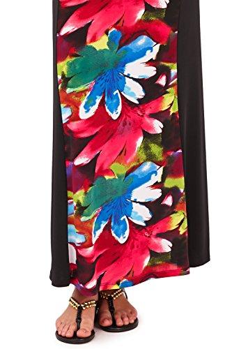 Verführerische Damen Floral Maxi Kleid mit aufgebaut Schulter & Crossover V-Ausschnitt, Urlaub, schwarz/rosa Schwarz - Schwarz / Pink