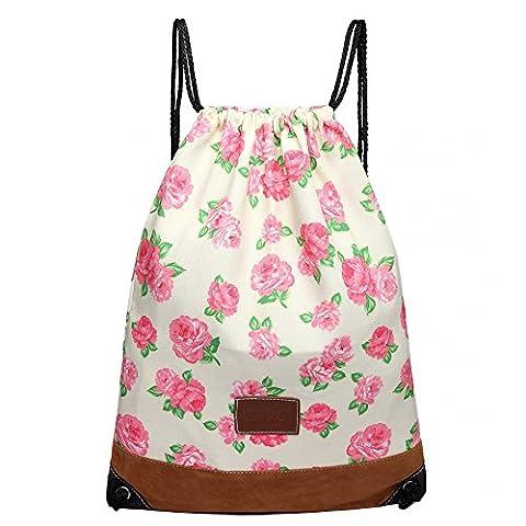 Floral Rose Print Canvas Drawstring Slipper PE Gym Fashion Bag