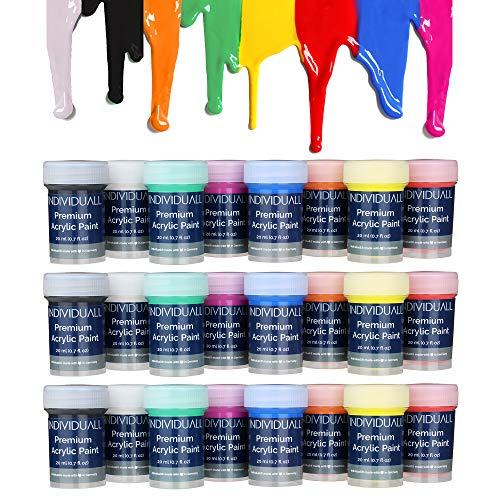 Acrylfarben Set - Farbset inkl. 24 Farben je 20 ml zum Malen für Anfänger, Kinder & Künstler - Für Holz, Leinwand, Stoff UVM. - Malfarben auf Wasserbasis | Aus Deutschland ()