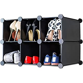 Andrew James Interlocking Shoe Storage Rack with Black Modular Cubes to create Flexible Solutions to fit Tall Narrow Small or Long Spaces Under Stairs Hallways Kids Bedrooms etc