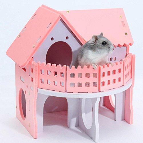 Haodene Hamster House 2 pisos con escaleras casa mascota...