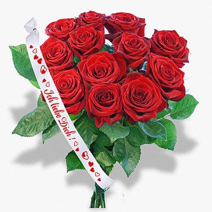 floristikvergleich.de 12 rote Rosen und Schleife: Ich liebe Dich!