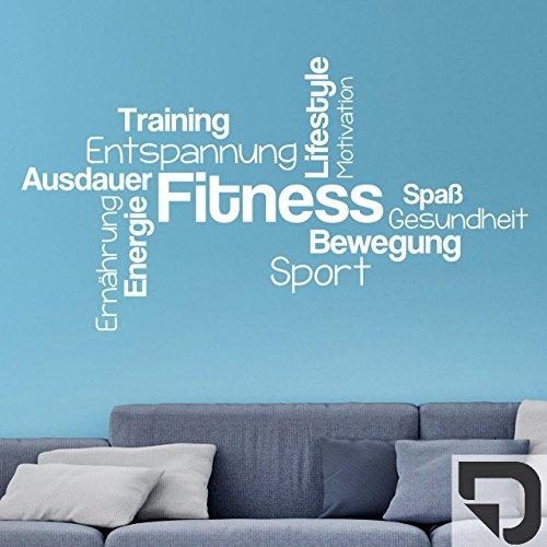 DESIGNSCAPE® Wandtattoo Fitness Wortwolke Bewegung Sport Lifestyle Training Ausdauer 80 x 44 cm (Breite x Höhe) dunkelgrau DW807301-S-F7