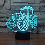 3D Lamp USB Power 7 Colors Amazing Optical Illusion 3D Grow LED Lamp Tractor Molds Kids Bedroom Night Light