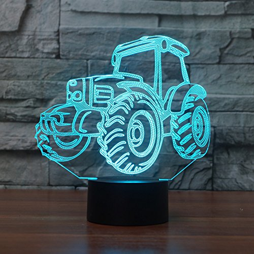 3D Lampe USB Power 7 Farben Amazing Optical Illusion 3D wachsen LED Lampe Traktor Formen Kinder Schlafzimmer Nacht Licht (Licht-lampe Wachsen)