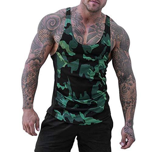 Luckycat Herren Top Basic Unifarben T-Shirt Unterhemden Ärmellos Muskelshirt Sport Camouflage Tank Top Herren Muskelshirt ideal für Gym Fitness & Bodybuilding Muscle Shirt Stringer Tanktop Unterhemd