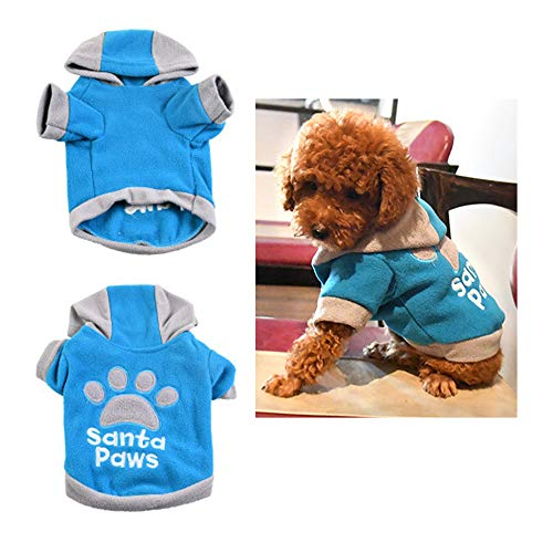 DLDL Hoodie Pet Clothes Jumpsuit Pet Kostüm Wintercoat Warm Soft Jacket für kleine Hunde Cats Footprints und Angel Patterns, Blau,Blue,XS