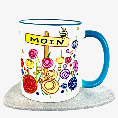 Gute Frauen Für Gute Laune (UKo-Art®, Büro Tasse, Nordsee, Moin, Kaffee-Becher für gute Laune, Geschenk-Idee für Frauen und Männer, 3-teilig, mit Karte und Filzuntersetzer, versandfertig)