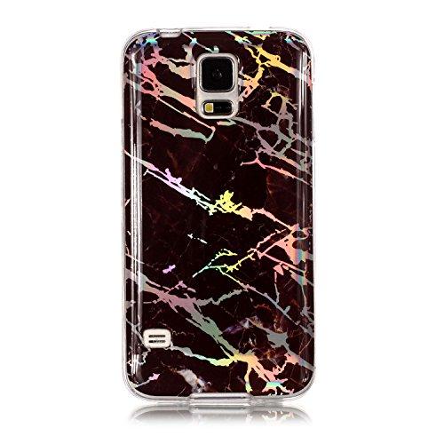 MoreChioce kompatibel mit Galaxy S5 Neo Hülle,kompatibel mit Galaxy S5 Silikon Hülle, Farbverlauf Braun Bling Glitzer Glanz Marmor Handyhülle Bumper Strass TPU Tasche,EINWEG