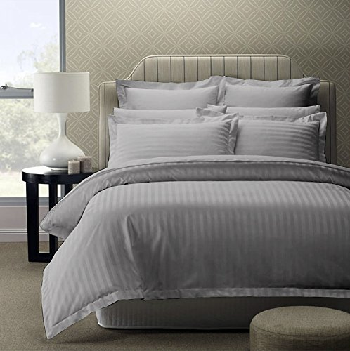 Story@Home 300 TC 100% Cotton Sateen Double King Size Bedsheet with 2 Pillow Covers Plain Premium Platinum Superior Elegant Solid Stripes Grey