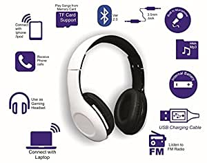 ODYO over ear Bluetooth Headset with TF card Slot, FM radio, Auxiliary Cable, Faux Leather Ear Muffs