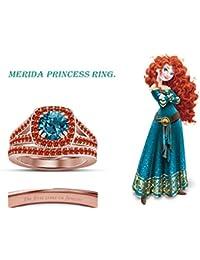 Vorra Fashion plata de ley 925 bañado en oro rosa de 14 K Multi CZ Disney Princess Merida Juego de Anillos de…