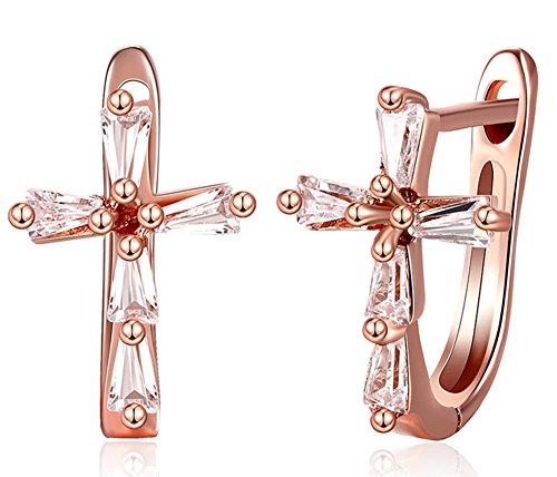 SaySure - Crystal Cross Earrings 18K Rose Gold Plated Clip Earrings