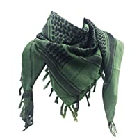 WOLMIK 100% Cotton Military Shemagh Tactical Desert Keffiyeh Head Neck Scarf Wrap in ArmyGreen