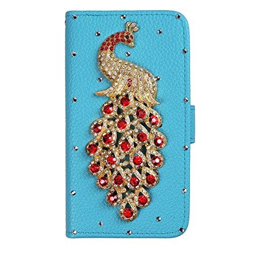 xhorizon® Auffälliger Glänzender Strass Kristall Pfau Krone DIY [Blau] Leder Tasche Geldbeutel Stand Decke Case Hülle für [4.7inch] iPhone 6 mit einer Reinigungstuch Rot Pfau