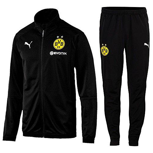 Puma Fußball BVB Borussia Dortmund Poly Trainingsanzug 2018 2019 Jacke Hose Herren schwarz Gr M
