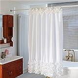 Uomere 180*180cm tenda della ganci tappeto bagno Set di accessori - 14 pezzi Set (Pizzo Bianco)