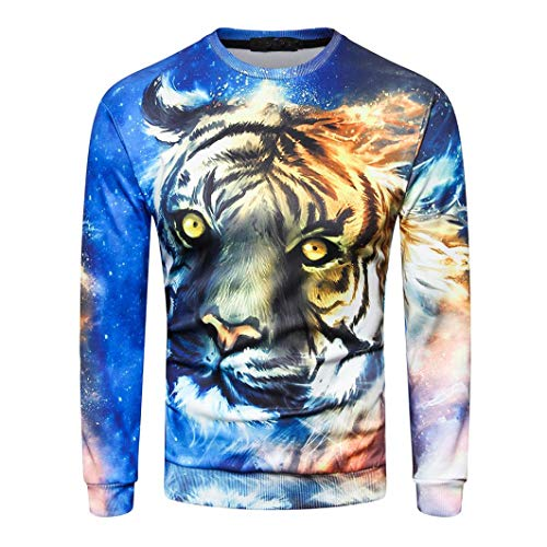 YunYou Fashion Herren Langarm Oansatz Sweatshirt 3D Gedruckt Casual Tops Bluse männer hemden online bestellen kurzarm herren hemd schwarz weiß gestreift coole kurzärmelige